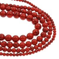 Türkis Perlen, Synthetische Türkis, verschiedene Größen vorhanden, rot, Bohrung:ca. 1mm, Länge:ca. 14.5 ZollInch, 10SträngeStrang/Tasche, verkauft von Tasche