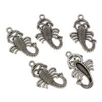 Zinklegierung Tier Perlen, Skorpion, antik silberfarben plattiert, frei von Blei & Kadmium, 16x30x3mm, Bohrung:ca. 2mm, 20PCs/Tasche, verkauft von Tasche