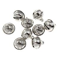 Zinklegierung Glockenanhänger, antik silberfarben plattiert, frei von Blei & Kadmium, 9x10mm, Bohrung:ca. 1mm, 20PCs/Tasche, verkauft von Tasche