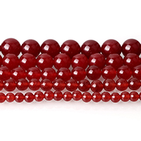 gefärbte Jade Perle, rund, verschiedene Größen vorhanden, rot, Bohrung:ca. 0.5-2mm, Länge:ca. 15 ZollInch, verkauft von Menge