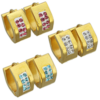 Huggie Ohrreifen, Edelstahl, mit Ton, goldfarben plattiert, für Frau, keine, 7x13mm, verkauft von Paar