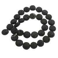 Natürliche Lava Perlen, flache Runde, schwarz, 12x6-13x6mm, Bohrung:ca. 1mm, ca. 31PCs/Strang, verkauft per ca. 14.5 ZollInch Strang