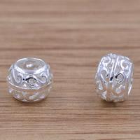 Messing hohle Perlen, Trommel, versilbert, frei von Blei & Kadmium, 7.5x5.8mm, Bohrung:ca. 3mm, verkauft von PC
