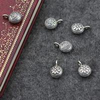Bali Sterling Silber Anhänger, Thailand, flache Runde, verschiedene Muster für Wahl, 10x15mm, Bohrung:ca. 3mm, verkauft von PC