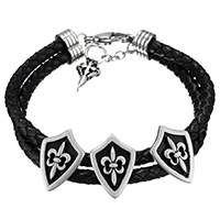 Rindsleder Armband, Kuhhaut, mit Edelstahl, Edelstahl Magnetverschluss, Armband  Bettelarmband & für Frau & Schwärzen, 15x21x9mm, 10mm, verkauft per ca. 10 ZollInch Strang