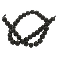 Mode Glasperlen, Glas, rund, verschiedene Größen vorhanden & glatt, schwarz, Bohrung:ca. 1mm, Länge:ca. 14.5 ZollInch, 10SträngeStrang/Tasche, verkauft von Tasche