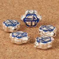 925 Sterling Silber Perlen, Epoxy Aufkleber, 9.9x8mm, Bohrung:ca. 1-2mm, verkauft von PC