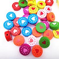 Holzperlen, Holz, Spritzlackierung, verschiedene Muster für Wahl & gemischt, farbenfroh, 16mm, Bohrung:ca. 1.5mm, verkauft von Tasche