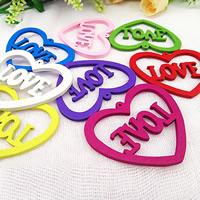Holz Anhänger, Wort Liebe, Spritzlackierung, gemischt, farbenfroh, 45x55mm, Bohrung:ca. 1.5mm, 1000PCs/Tasche, verkauft von Tasche