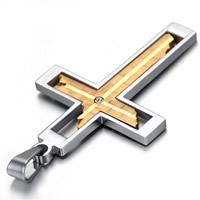 Titan -Anhänger, Titanstahl, Kreuz, plattiert, mit Strass & zweifarbig, 36x64mm, Bohrung:ca. 3-5mm, verkauft von PC