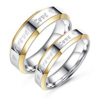 Unisex-Finger-Ring, Titanstahl, mit Verlängerungskettchen von 5cm, Wort für immer Liebe, olika innerdiameter, för val, 16-19mm, verkauft von PC