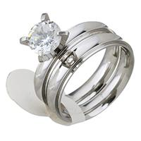 Zirkonia Edelstahl Finger Ring Set, verschiedene Größen vorhanden & für Frau & mit kubischem Zirkonia, originale Farbe, 8mm, 8mm, 2PCs/setzen, verkauft von setzen