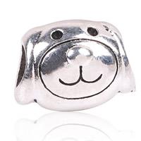 Zink Legierung Europa Perlen, Zinklegierung, Hund, antik silberfarben plattiert, ohne troll, frei von Blei & Kadmium, 11x15mm, Bohrung:ca. 4.5-5mm, 10PCs/Tasche, verkauft von Tasche