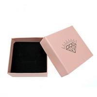 Papier Schmucksetkasten, Ohrring & Halskette, mit Schwamm, Quadrat, verschiedene Muster für Wahl, Rosa, 73x73x35mm, 100PCs/Menge, verkauft von Menge