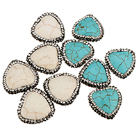 Synthetische Türkis Perle, mit Ton, keine, 22-24x22-24x7-8mm, Bohrung:ca. 1.3-1.5mm, 10PCs/Tasche, verkauft von Tasche