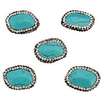 Synthetische Türkis Perle, mit Ton, 21-23x17-19x6-8mm, Bohrung:ca. 1.7mm, 10PCs/Tasche, verkauft von Tasche