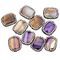 Natürliche Streifen Achat Perlen, mit Ton, Rechteck, keine, 24-26x19-21x7mm, Bohrung:ca. 1.5mm, 10PCs/Tasche, verkauft von Tasche