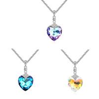 CRYSTALLIZED™ Kristall Halsketten, Zinklegierung, mit CRYSTALLIZED™, mit Verlängerungskettchen von 5cm, Herz, Platinfarbe platiniert, kompulizierte Kette & für Frau & facettierte & mit Strass, keine, frei von Blei & Kadmium, 400x35x18mm, verkauft per ca. 15.75 ZollInch Strang