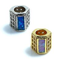 Zirkonia Micro Pave Messing Europa Bead, Sechseck, plattiert, Micro pave Zirkonia & ohne troll, keine, frei von Nickel, Blei & Kadmium, 8x8x8mm, Bohrung:ca. 4.5mm, 5PCs/Menge, verkauft von Menge
