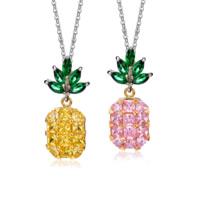 Messing Halskette, Ananas, plattiert, Oval-Kette & für Frau & mit kubischem Zirkonia, keine, frei von Nickel, Blei & Kadmium, 10x26mm, verkauft per ca. 18.3 ZollInch Strang