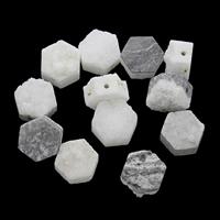 Natürliche Eis Quarz Achat Perlen, Eisquarz Achat, mit Zinklegierung, Sechseck, plattiert, druzy Stil, 10x7mm-12x8mm, Bohrung:ca. 1mm, ca. 5PCs/Tasche, verkauft von Tasche