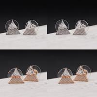 Zinklegierung Ohrstecker, mit Kunststoff Ohrmutter, Sterling Silber Stecker, plattiert, mit kubischem Zirkonia, keine, frei von Blei & Kadmium, 12x12mm, verkauft von Paar