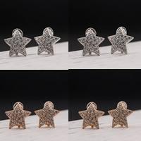 Zinklegierung Stern, plattiert, mit Strass, keine, frei von Blei & Kadmium, 21x21mm, verkauft von Paar