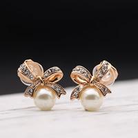 Zinklegierung mit ABS-Kunststoff-Perlen, Schleife, Rósegold-Farbe plattiert, mit Strass, frei von Blei & Kadmium, 15x16mm, verkauft von Paar