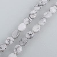 Natürlicher weißer Türkis Perle, flachoval, verschiedene Größen vorhanden, Bohrung:ca. 0.5-1.5mm, verkauft per ca. 15.5 ZollInch Strang