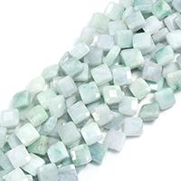 Burma Jade Perle, Rhombus, natürlich, facettierte, 14x14x5mm, Bohrung:ca. 0.5mm, ca. 30PCs/Strang, verkauft per ca. 15 ZollInch Strang