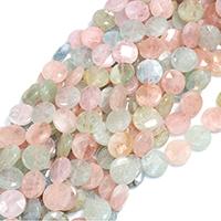 Morganit Perle, flache Runde, natürlich, verschiedene Größen vorhanden & facettierte, Bohrung:ca. 0.5-1mm, verkauft per ca. 15 ZollInch Strang