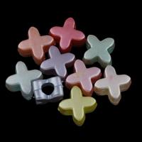 Plattierte Acrylperlen, Acryl, bunte versilbert & gemischt, 16x15x8.50mm, Bohrung:ca. 2mm, ca. 500PCs/Tasche, verkauft von Tasche