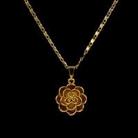 Messing Halskette, Blume, goldfarben plattiert, für Frau, frei von Nickel, Blei & Kadmium, 18x15x8mm, verkauft per ca. 16.5 ZollInch Strang