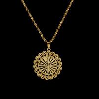 Messing Halskette, flache Runde, goldfarben plattiert, Singapur-Kette & für Frau, frei von Nickel, Blei & Kadmium, 29.5x4.5mm, verkauft per ca. 16.5 ZollInch Strang