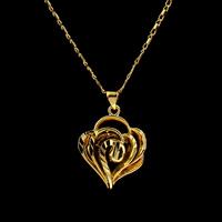 Messing Halskette, Herz, goldfarben plattiert, für Frau, frei von Nickel, Blei & Kadmium, 26x20x6.50mm, verkauft per ca. 16.5 ZollInch Strang