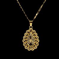 Messing Halskette, Tropfen, goldfarben plattiert, für Frau, frei von Nickel, Blei & Kadmium, 33.50x22.50x3.50mm, verkauft per ca. 16.5 ZollInch Strang