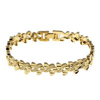 Messing-Armbänder, Messing, goldfarben plattiert, für Frau, frei von Nickel, Blei & Kadmium, 8x2.5mm, verkauft per ca. 7 ZollInch Strang