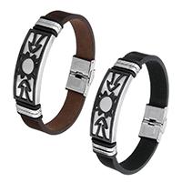 Rindsleder Armband, Kuhhaut, mit Edelstahl, plattiert, keine, 42x16mm, 14x3mm, verkauft per ca. 8.5 ZollInch Strang