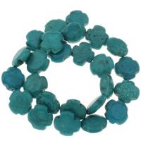 Synthetische Türkis Perle, Kreuz, 16.5x5.5mm, Bohrung:ca. 1mm, ca. 25PCs/Strang, verkauft per ca. 15 ZollInch Strang
