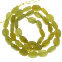 Zitronen Jade Perle, flachoval, 10x8mm, Bohrung:ca. 1mm, ca. 39PCs/Strang, verkauft per ca. 14.5 ZollInch Strang