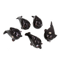 Tier Lampwork Perlen, Dolphin, handgemacht, schwarz, 18x20x8-11x10x12mm, Bohrung:ca. 2mm, 10PCs/Tasche, verkauft von Tasche
