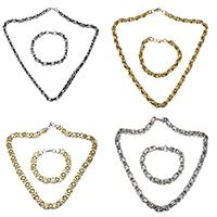 Freiraum gestalten Schmucksets, Armband & Halskette, Edelstahl, plattiert, gemischt, 7-11x4-11mm, 7-11x4-11mm, Länge:ca. 21-23 ZollInch, ca. 8-10 ZollInch, 10SetsSatz/Menge, verkauft von Menge