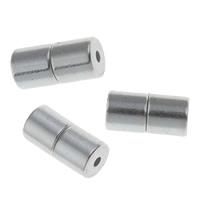 Zinklegierung Magnetverschluss, Zylinder, antik silberfarben plattiert, frei von Blei & Kadmium, 9x4mm, Bohrung:ca. 1mm, 10PCs/Tasche, verkauft von Tasche