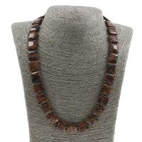 Unisex Halskette, Goldsand, Messing Karabinerverschluss, Quadrat, 14x5mm, verkauft per ca. 19.5 ZollInch Strang
