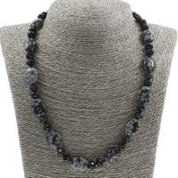 Unisex Halskette, Schneeflocke Obsidian, mit Kristall, Messing Karabinerverschluss, facettierte, 13x18x5mm, verkauft per ca. 18.5 ZollInch Strang