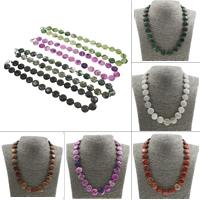 Unisex Halskette, Edelstein, Messing Karabinerverschluss, flache Runde, verschiedenen Materialien für die Wahl, 15x6mm, verkauft per ca. 17 ZollInch Strang