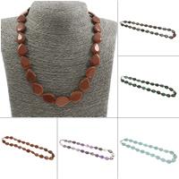 Unisex Halskette, Edelstein, Messing Karabinerverschluss, Tropfen, verschiedenen Materialien für die Wahl, 13x18x5mm, verkauft per ca. 20 ZollInch Strang