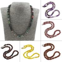 Unisex Halskette, Edelstein, Messing Karabinerverschluss, Trommel, verschiedenen Materialien für die Wahl, 8x12mm, verkauft per ca. 20 ZollInch Strang