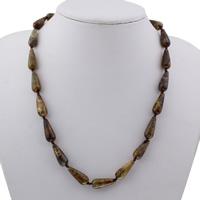 Rosenquarz Halskette, Messing Karabinerverschluss, Tropfen, für Frau, 8x20x8mm, verkauft per ca. 18.5 ZollInch Strang