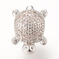 Messing European Perlen, Schildkröter, Platinfarbe platiniert, Micro pave Zirkonia & ohne troll, frei von Nickel, Blei & Kadmium, 13.6x9.5mm, Bohrung:ca. 4-5mm, 5PCs/Tasche, verkauft von Tasche